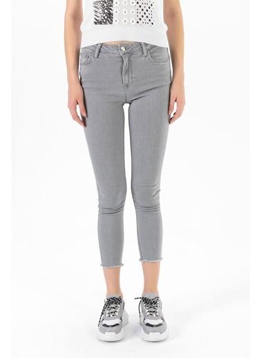 Tiffany&Tomato Paçası Kesik Skinny Jean Pantolon - Gri Gri